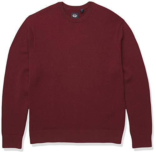 dockers Men's Long Sleeve Crewneck Sweater Henley Shirt, Chestnut Red-Textured Stitch, Large