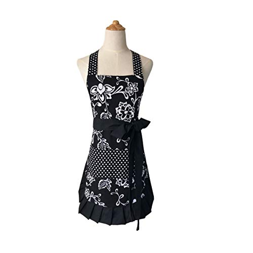 Cotton Fabric Women#039s Apron with 2 PocketsExtra Long Ties Home Baking or Kitchen Cooking Graceful and Flirty Black Style3Leeotia