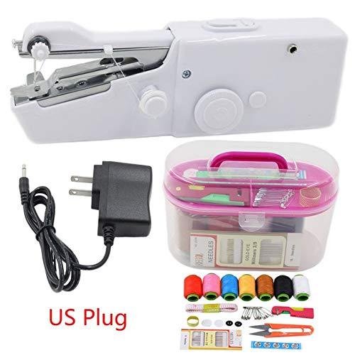 JINZHAO Máquinas de Coser eléctricas, Mini máquinas de Coser de Mano Puntada Costura Costura sin Hilos Telas para Ropa Máquina de Coser eléctrica Conjunto de Puntadas, con Enchufe de EE. UU.