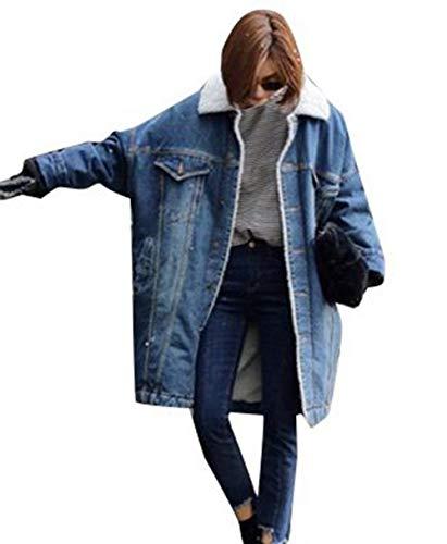 Giacche Jeans Donna Invernali Elegante Moda Giacche di Transizione Manica Lunga Bavero con Pelliccia Tasche Anteriori Chic Single Breasted Hot di Alta qualità Cappotto Accogliente Giubotto Ragazza
