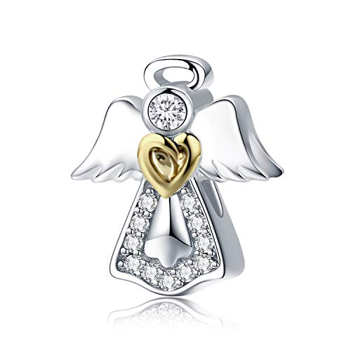 Abalorio chapado en oro con forma de corazón con alas de ángel, para pulsera de cadena de serpiente, regalo de cumpleaños