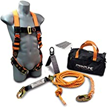 Frontline RK5PTB25 Combat Complete Roofers Kit with 25' Lifeline   Combat Economy Series Full Body Harness   25' Vertical Lifeline with Rope Grab   Hinged Reusable Roof Anchor   OSHA & ANSI Compliant