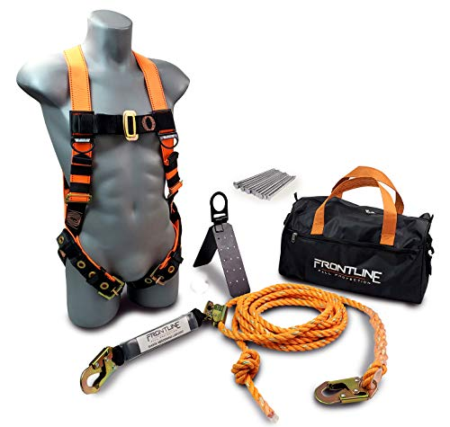 Frontline RK5PTB50 Combat Complete Roofers Kit with 50' Lifeline | Combat Economy Series Full Body Harness | 50' Vertical Lifeline with Rope Grab | Hinged Reusable Roof Anchor | OSHA & ANSI Compliant