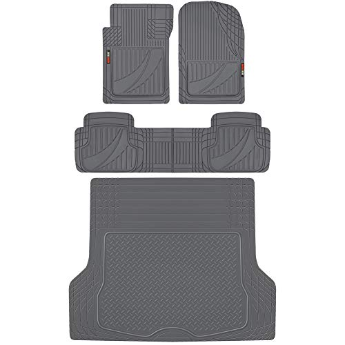 Motor Trend MT-793 Premium FlexTough Advanced Performance Rubber Car Floor Mats, Universal Front & Rear Combo Set with Trunk Cargo Mat Liner for Car Sedan SUV Van, Heavy Duty All Weather Trim to Fit