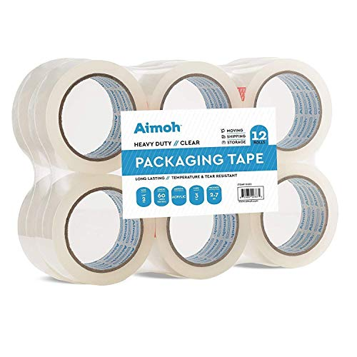6 Rolls Heavy Duty Clear Packing Tape -Acrylic Adhesive- 2.7mil Ultra Strong Commercial Grade- Size 1.88 x 60 Yard- 3 Inch Core- Refill - Moving-Packaging-Shipping - 6 Rolls (11631)