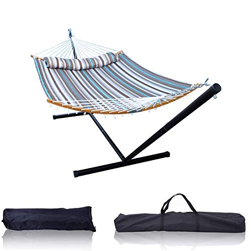 HENG FENG 2 Person Double Hammock with 12 Foot Portable Detachable Steel Stand and Curved Bamboo...