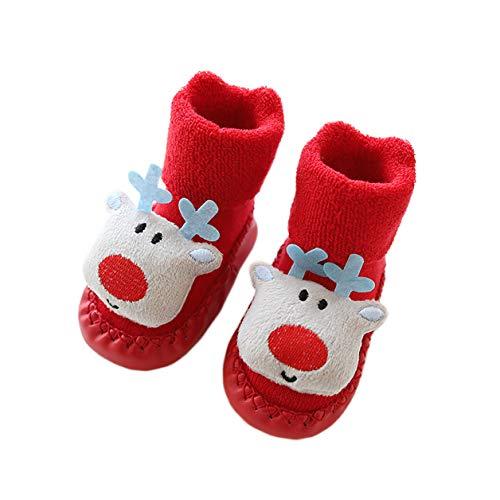 AMEIDD Calcetines de Navidad para bebé Calcetines cálidos antideslizantes para el suelo Zapatilla de invierno para bebé Regalo de Navidad por 0-18 meses (C, 13cm 12-18 meses)