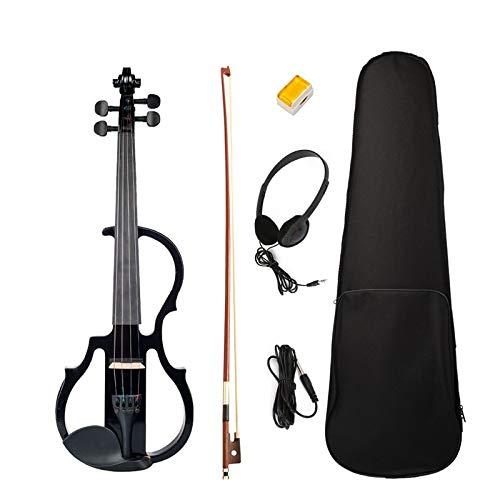 ABMBERTK,Violín, violín eléctrico, 4/4 violín de tamaño Completo, con Estuche, Arco, colofonia para Auriculares, Juego Negro, Negro