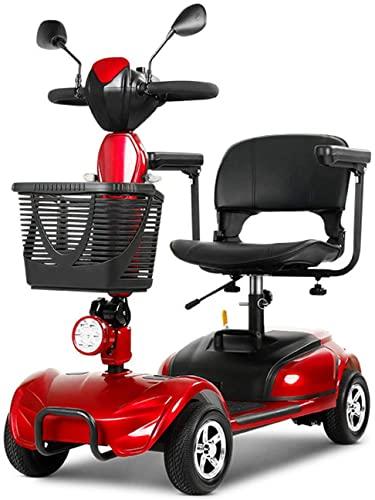 LHGXQ-Dp Scooter De Movilidad De 4 Ruedas,Coche De Batería con Asistencia Eléctrica Viaje Compacto Plegable,Scooter De Movilidad Portátil para Adultos/Ancianos,Rojo,130 * 55 * 120CM