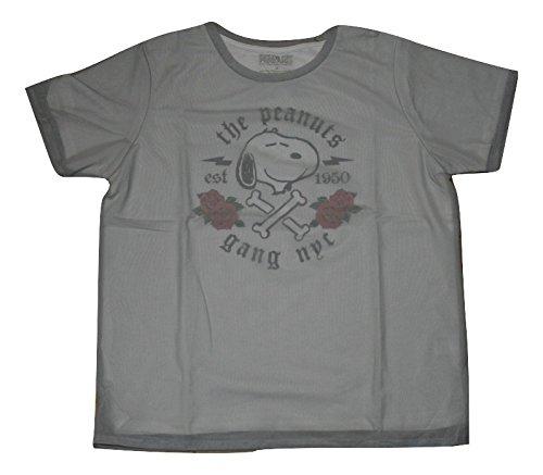 スヌーピー ピーナッツ Snoopy Peanuts Tシャツ 半袖 重ね着 レディース ガールズ サイズ感大きめ 灰 (S) [並行輸入品]