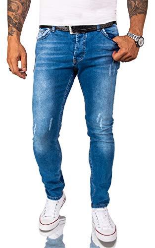 Rock Creek Herren Jeans Hose Weiß Slim Fit Stretch Jeans Herrenjeans Herrenhose Denim Stonewashed Weisse Herren Jeans RC-2163 Blau W30 L30