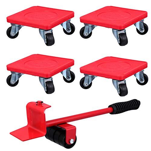 iplusmile 5Pcs Möbel Umzugsset Langlebige Möbelheber Schwere Möbel Schieber Rollenbewegungssystem System 360 Grad Drehbare Pads für Möbel Leicht zu Bewegen