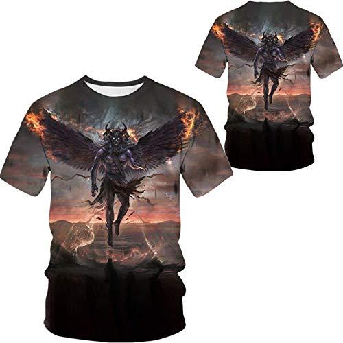 Camiseta para Hombre,Hip Hop Camisetas Impresas En 3D De Gran Tamaño,Camiseta Personalizada De Manga Corta Devil,Tops Casual Streetwear para Adolescentes Verano Al Aire Libre,3X,Grande