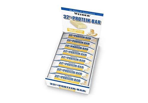 WEIDER32% Protein Bar, Weiße Schokolade-Banane, 24 leckere Eiweißriegel mit zartem Schokoladenüberzug