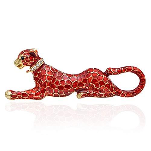 XZDA Broche Broches De Leopardo De Esmalte Rojo para Mujer Moda Vivid...