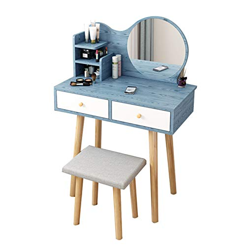 DXZ-Design Vanity Table Set with Round Mirror and Drawers, White Vanity Desk for Girls Women, Modern Simple Makeup Dressing Table with Cushion Stool for Bedroom