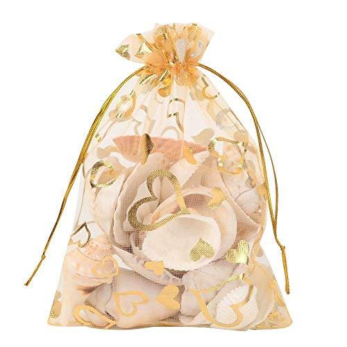Bayda 100 sacchetti per gioielli in organza, con coulisse, 9 x 12 cm, ideali per matrimoni, feste, Natale, bomboniere (oro)
