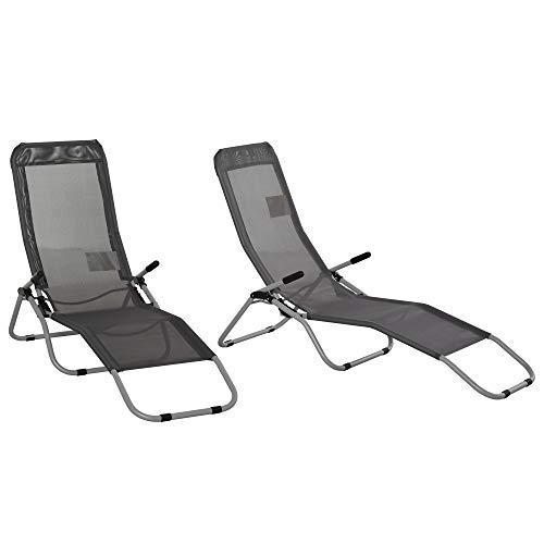 Outsunny Set of 2 Outdoor Patio Chaise Recliner Portable Lounge Chairs w/Rust-Resistant Steel Frame & Adjustable Backrest, Grey