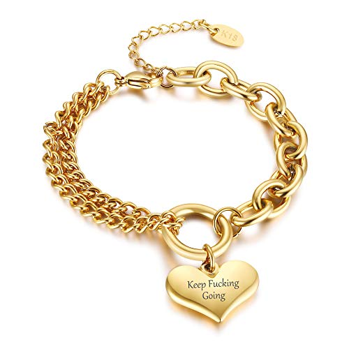 PJ JEWELLERY Customised Stainless Steel Gold Plated Wheat Chain Chunky Hand Chain Bracelet with Heart Charm Bracelet for Women Lover Interlinked Chunky Cuban Chain Link Bracelet for Girls,Adjustable