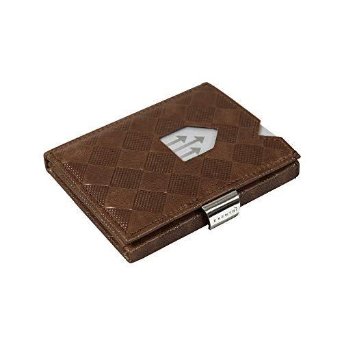 EXENTRI WALLET w/RFID in Chess - Premium Leather with Stainless Steel Locking Clip   Stylish, Sophisticated, Compact (Hazelnut)