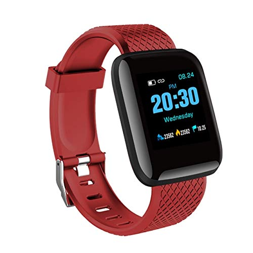 WERNG Hombres Mujeres Impermeable Digital Reloj Inteligente Presión Cardíaca Frecuencia Deporte Fitness Tracker Bluetooth Smartwatch para iOS Androide Rojo