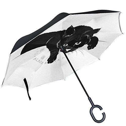 Alaza schwarz Cat Silhouette auf weiß seitenverkehrt Regenschirm Double Layer winddicht Rückseite Regenschirm