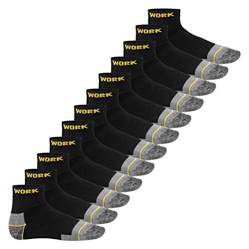 MT Herren Arbeits- & Freizeitsocken (12 Paar), Robuste Work Kurzschaft Socken - Schwarz-Gelb 43-46