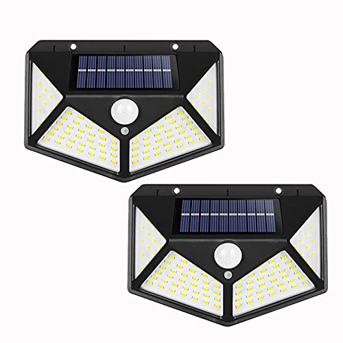 Sensor de movimiento solar, 100 LED, sensor exterior de luz solar, IP65, impermeable, 3 modos de iluminación para jardín, patio, valla yard garaje, 2 unidades