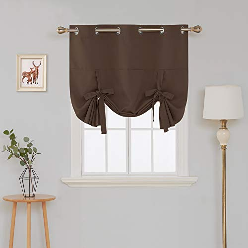 Deconovo Grommet Decorative Blackout Curtain Tie Up Shade for Small Window, 46Wx63L Inch, Brown