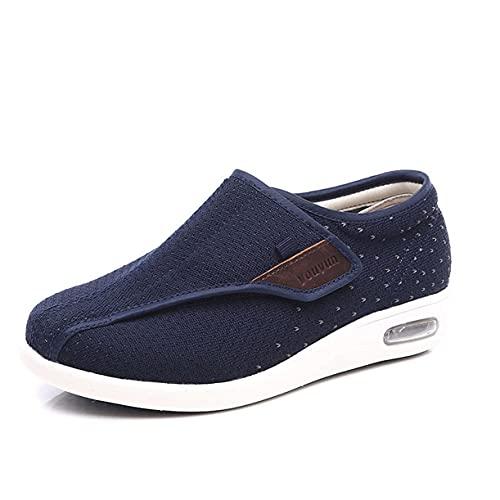 Zapatillas Diabéticas para Mujer, Edema Extra Ancho Zapatos Hinchados Comfort Anciano Ortopédico Calzado Unisex Ajustable Anciano Edema Zapatos,Azul,43 EU