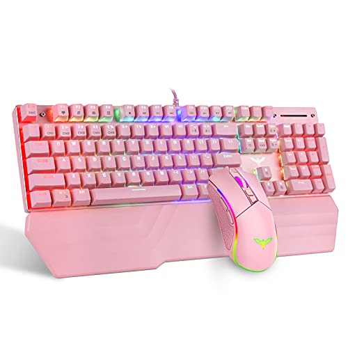 Havit Mechanical Keyboard and Mouse Combo RGB Gaming 104 Keys Blue Switches Wired USB Keyboards with Detachable Wrist Rest, Programmable Gaming Mouse for PC Gamer Computer Desktop (Pink)