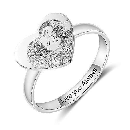 Herz Foto ring damen gravur Personalisierte foto herz ring Silber/Edelstahl mit gravur für frauen mit Texte Gravur foto Souvenir (Herzform-Edelstahl)