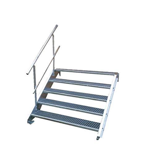 Stahltreppe Industrietreppe Aussentreppe Treppe 5 Stufen-Breite 90cm Variable Geschosshöhe 70-105cm mit einseitigem Geländer