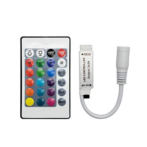 Uonlytech - Mando a distancia por infrarrojos, 2 piezas, 12-24 V, LED, RGB, CC, 24 botones, controlador
