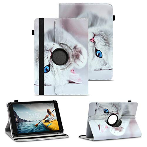 NAUC Robuste Universal Tablet Schutzhülle kompatibel für Medion E6912 aus Kunstleder Hülle Tasche Standfunktion 360° Drehbar Motiven Cover Hülle, Farben:Motiv 10