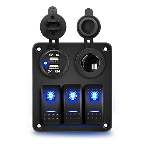 RUIZHI 3 Gang Panel de Interruptores Basculantes 12V / 24V Doble USB Puerto con Voltímetro LED Digital Rocker Switch Panel para Coche Marino