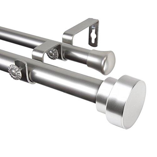 "Rod Desyne 100-37-1605-D Bonnet 1"" OD 160-240 inch-Satin Nickel Double Curtain Rod Set, 160-240"""
