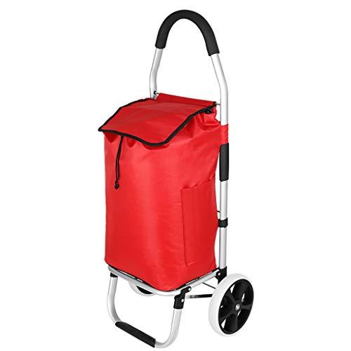 RTTgv Einkaufstrolleys 2-Rad-Multifunktions-Einkaufswagen, Faltbare Einkaufswagen mit herausnehmbarer Tasche und faltbares Design, Online-Shopping Trolley (Color : A)