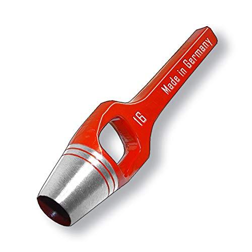 Ojales redondos de 16 mm de diámetro, acero inoxidable A2, punzón, base perforadora (mango de 16 mm de diámetro)