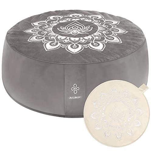 OVERMONT Cojín de Yoga Zen Meditación Redondo 41x13cm Relleno de Alforfón, Zafu Cojín de Piso con 2 Fundas de Terciopelo y Lona y con Asa