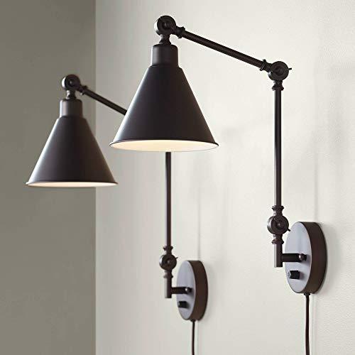 Wray Modern Industrial Adjustable Swing Arm Plug in Wall Lights Set of 2 Lamps Dark Bronze Plug-in Light Fixture Up Down Sconce Bedroom Bedside House Reading Living Room Hallway - 360 Lighting