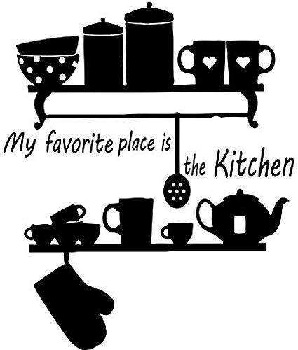 stickers muraux animaux de la savane Wall Decals My Favorite Place is The Kitchen Decal Teapot Cup Vinyl Sticker Home Decor Interior Design Cafe Restaurant Mural