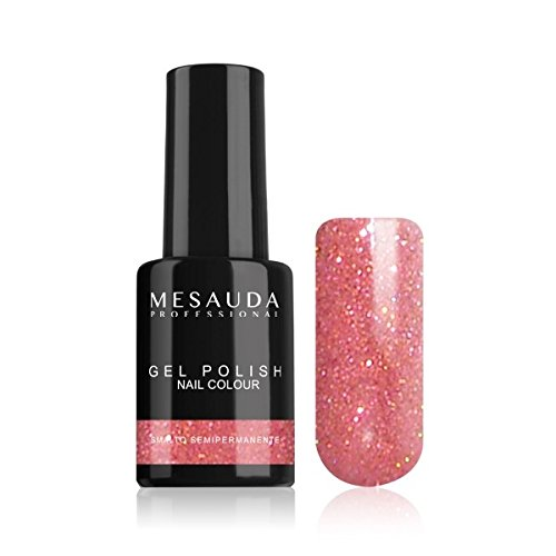 Smalto Semipermanente GEL POLISH NAIL COLOUR 49 Glitter Rosa 10ml MESAUDA
