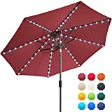 EliteShade Solar Umbrellas Sunbrella 9ft Market Umbrella with 80 LED Lights Patio Umbrellas Outdoor Table Umbrella with Ventilation and 10 Years Non-Fading Guarantee