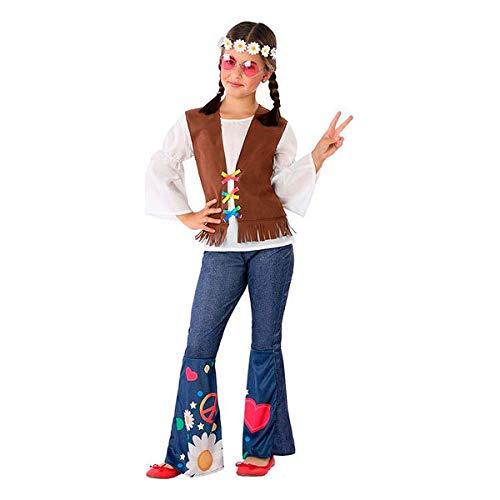 Atosa-60097 Atosa-60097-Disfraz Hippie-Infantil Niña, Color marrón, 3 a 4 años (60097