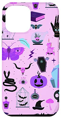 iPhone 12 Pro Max Pastel Goth Witchy Crystals Halloween Skull Coffin Bat Case