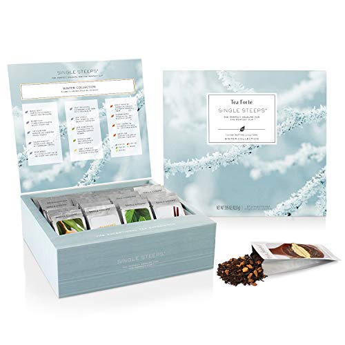Tea Forte Winter Teas Variety Gift Box, Single Steeps Loose Tea Sampler with 28 Assorted Black Tea, Chai Tea, Herbal Tea, Green Tea and White Tea