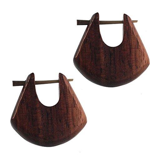 Chic-Net Pin Creolen Holz rund tränenförmig Horn-Pin Verschiedene Hölzer 23 mm Unisex