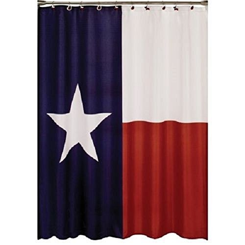 Crystal Emotion Western Texas Star State Flag Polyester Bathroom Shower Curtain with Hooks,Navy Red and White 72x72inch