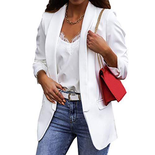 Dihope Blazer para Mujer Chaquetas de Trajes Mujer Elegante Ajustada Chaqueta Americana de Mujer de Manga Larga Casual Oficina para Primavera Otoño,Blanco,3XL